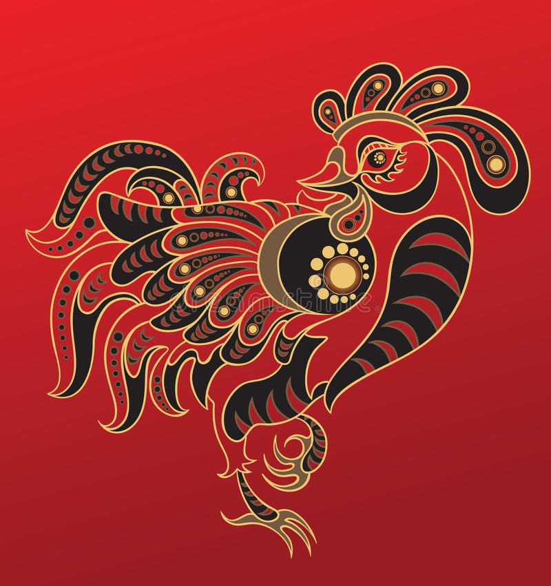 Chinese horoscope. Year of the rooster vector illustration