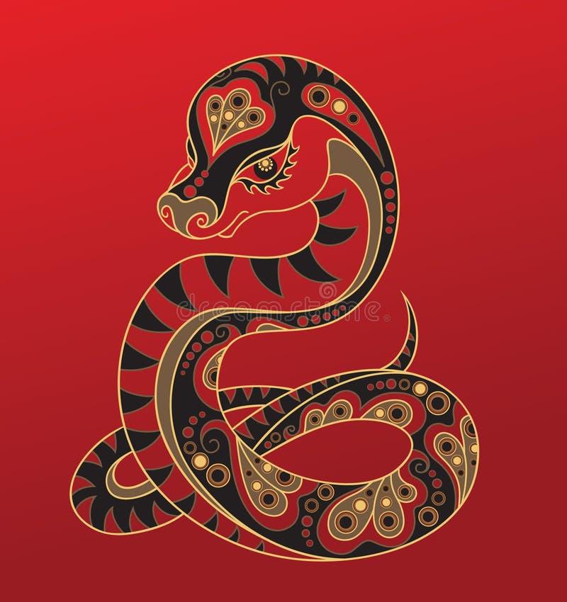 Chinese horoscope. Year of the snake stock illustration