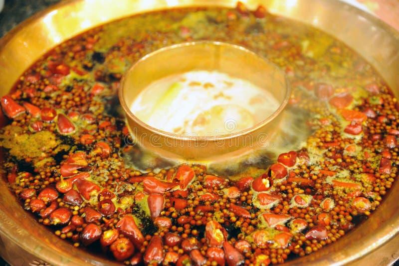 Chinese hot pot close up stock photos