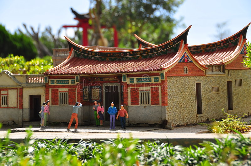 Chinese house. Chinese miniature houses with people stock photos