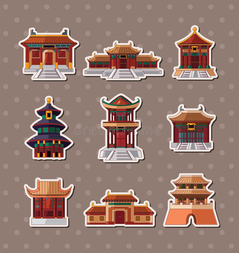 Chinese house stickers royalty free illustration