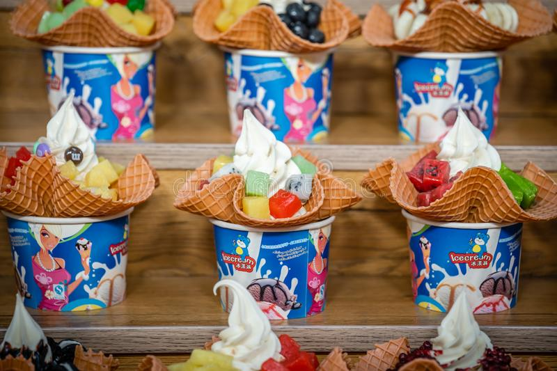 Chinese ice cream like dessert for sale stock image