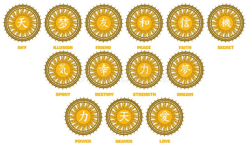 Chinese ideograms on abstract background royalty free stock photography