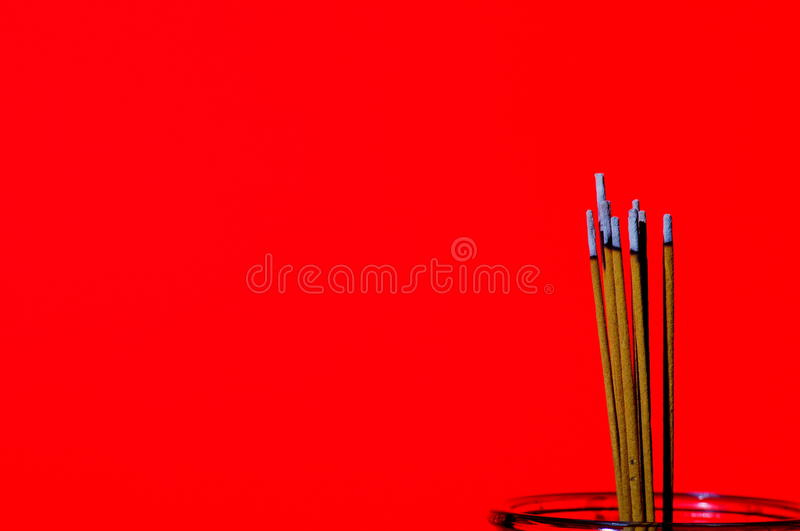 Chinese incense burning for good luck stock photo