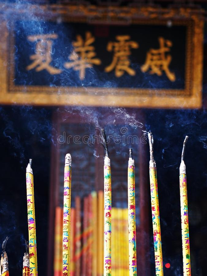 Chinese Incense Stick at Guan Yu Temple in Jingzhou City, Hubei royalty free stock photography