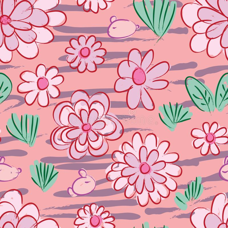 Chinese ink rabbit flower grass land seamless pattern royalty free illustration
