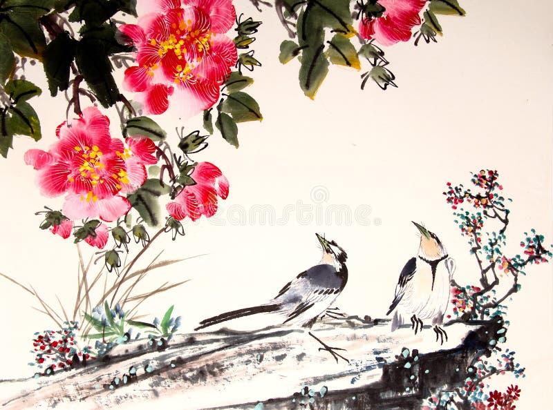 Chinese inkt het schilderen vogel en boom stock illustratie