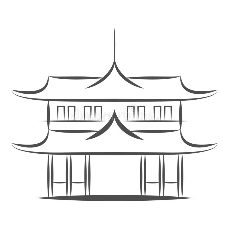 Chinese or japanese Pagoda building vector icon. Flat sign for mobile concept and web design. Asian Temple Architecture. Chinese or japanese or Asian Pagoda royalty free illustration