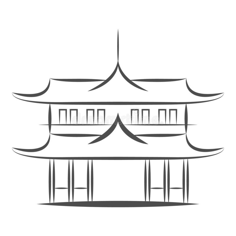 Chinese or japanese Pagoda building vector icon. Flat sign for mobile concept and web design. Asian Temple Architecture. Chinese or japanese or Asian Pagoda vector illustration