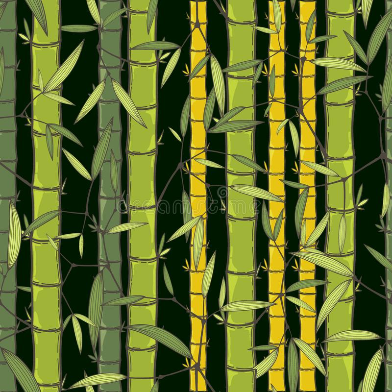 Chinese or japanese bamboo grass oriental wallpaper vector illustration. Tropical asian seamless background.  stock illustration