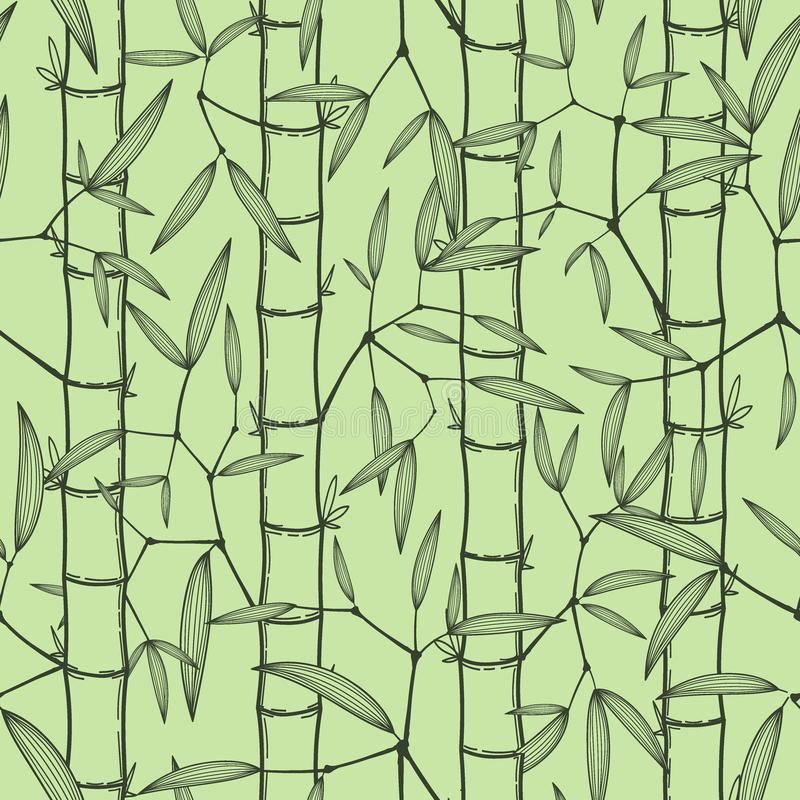 Chinese or japanese bamboo grass oriental wallpaper vector illustration. Tropical asian seamless background vector illustration