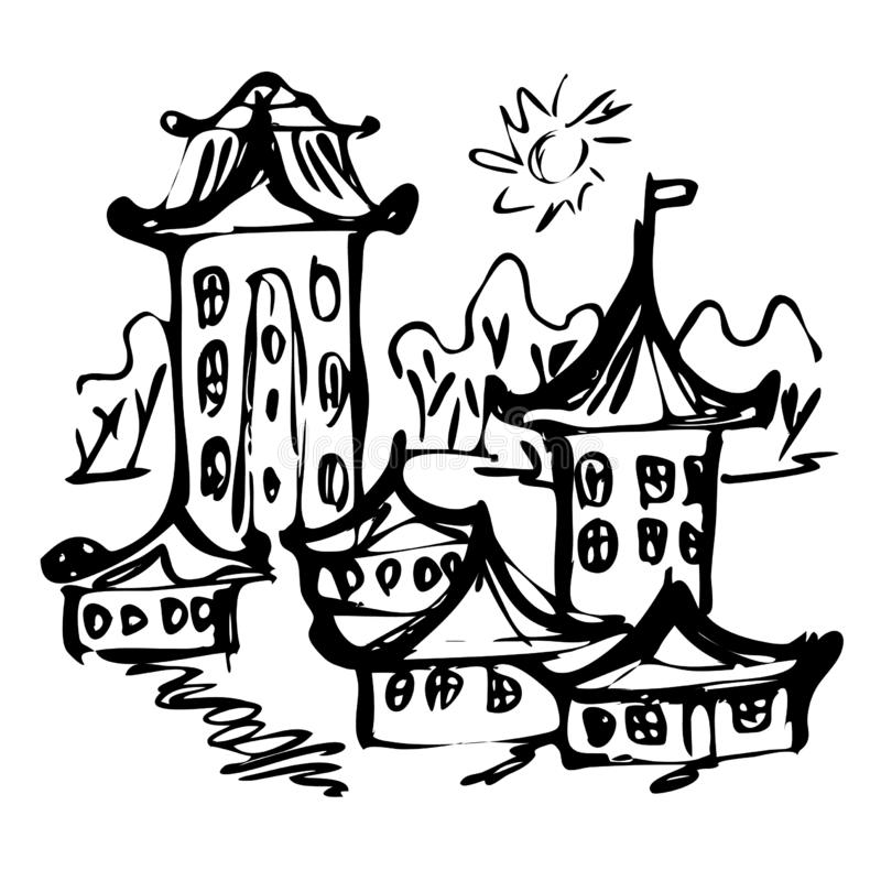 Chinese castle sketch, vector illustration. Chinese or japanese castle and buildings sketch. Vector illustration vector illustration