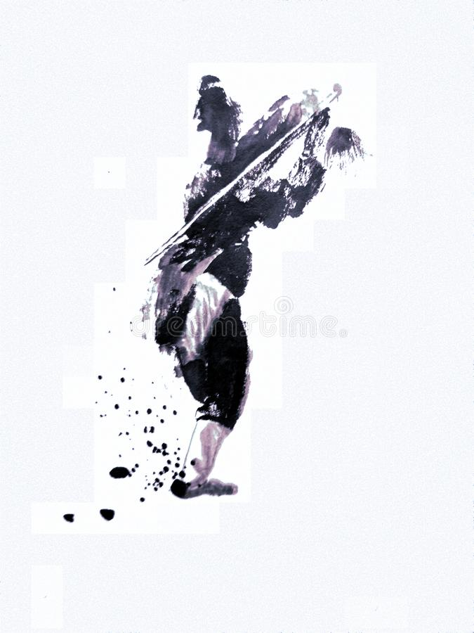Chinese or japanese ink painting of a kung fu master stock photo