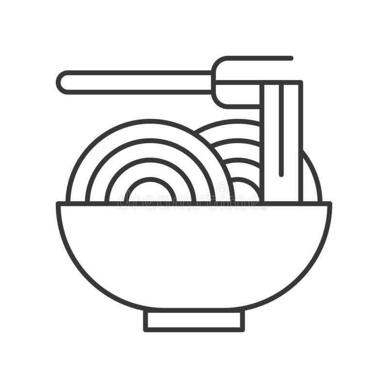 Chinese or Japanese noodles in bowl, food outline icon.  stock illustration