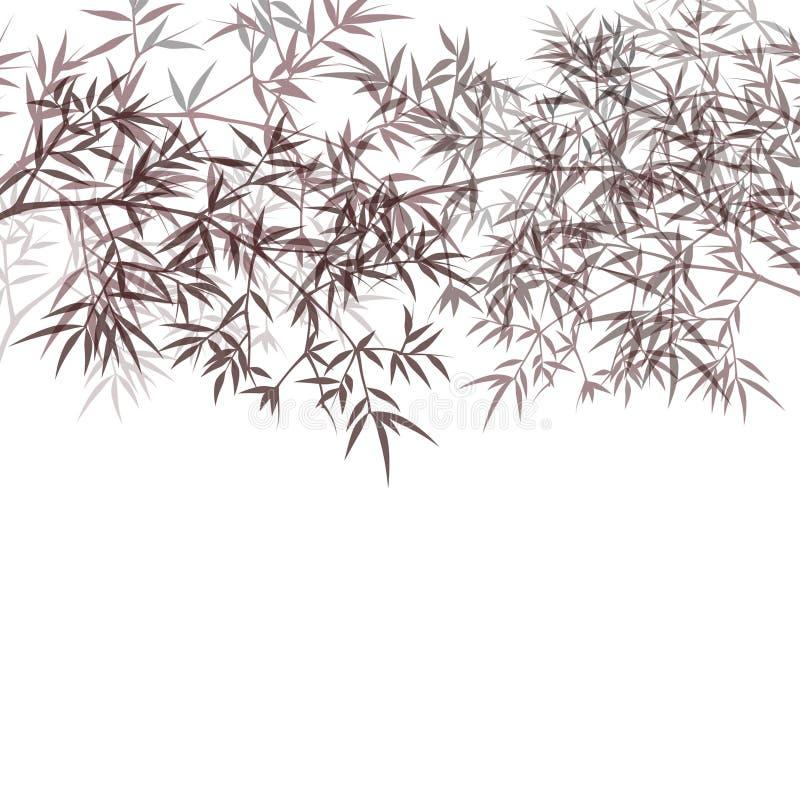 Chinese of Japanse oosterse het behang vectorillustratie van het bamboegras Tropische Aziatische installatieachtergrond stock illustratie