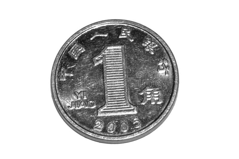 1 Chinese jiao coin isolated on white stock image