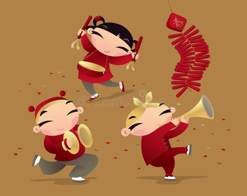 Chinese jonge geitjes die nieuwe jaar komst vieren royalty-vrije illustratie