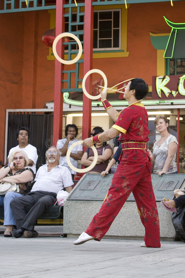 Chinese Juggler 3. LOS ANGELES CHINATOWN, CA - SEPT 14: Chinese juggler Haitao, performs in the 2008 Moon Festival in Los Angeles' Chinatown stock images