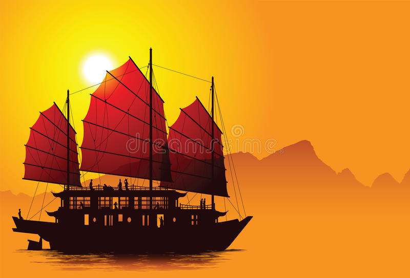Chinese junk. Vector silhouette of chinese junk with mountains on the background
