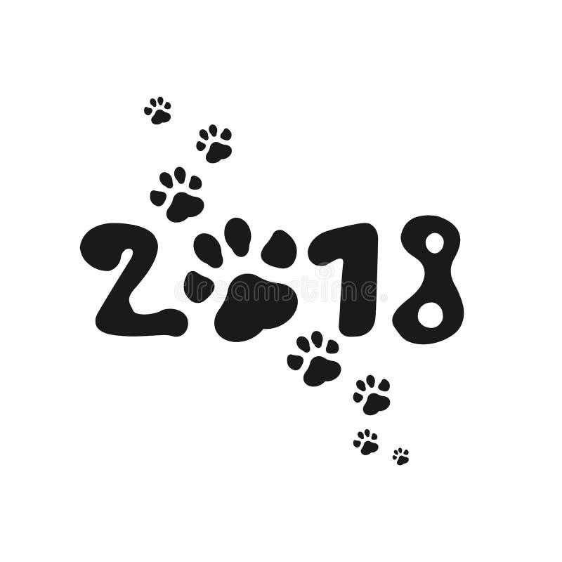 Chinese kalender voor het nieuwe jaar van Hond 2018 Paw Print Vector illustratie Origineel ontwerp royalty-vrije illustratie