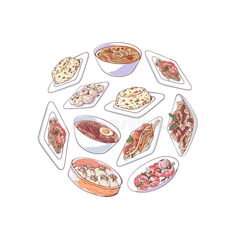 Chinese keukenaffiche met Aziatische schotels royalty-vrije illustratie