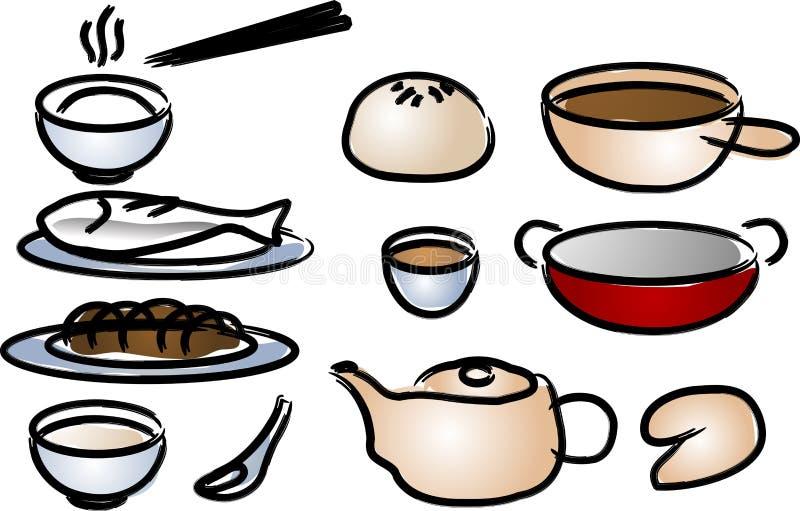 Chinese keukenpictogrammen stock illustratie