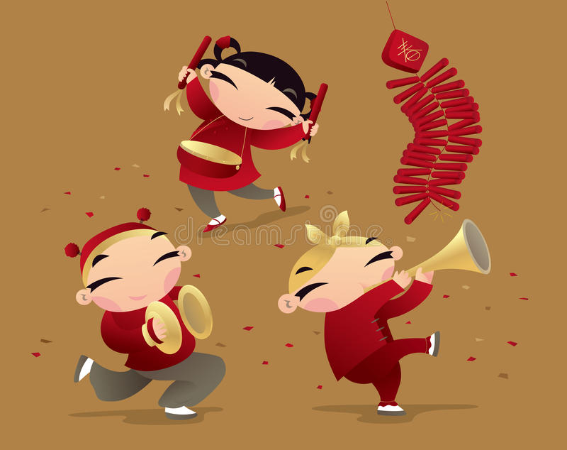 Chinese kids celebrating new year coming. Vector illustration of Chinese kids celebrating new year coming royalty free illustration