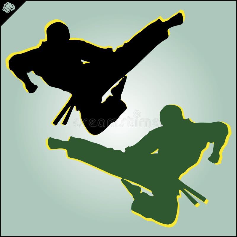 Chinese kinderen KONGFU Het silhouetvector van karatevechters EPS vector illustratie
