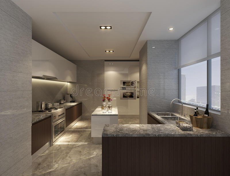 Chinese kitchen in Shanghai, high-grade apartments royalty free stock images