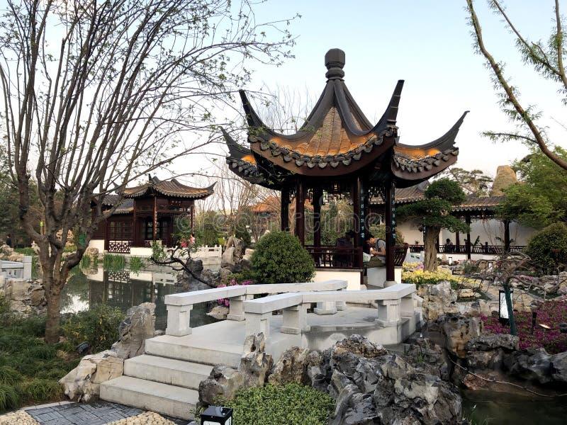 Chinese Klassieke Tuin, Chinese Architectuur, Chinese Cultuur, Expositie van Peking van 2019 de Internationale Tuinbouw stock foto