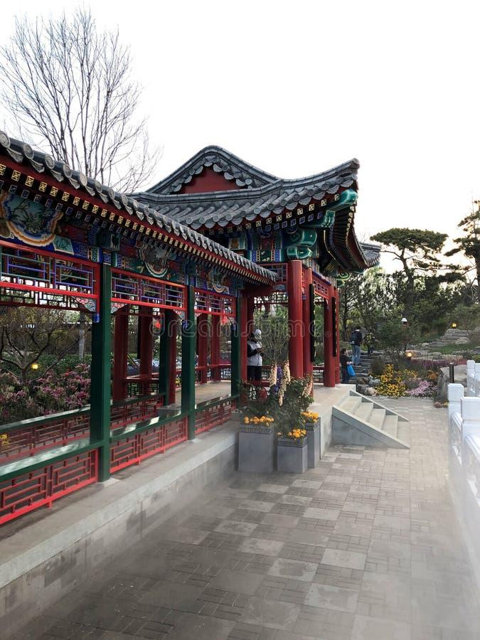 Chinese Klassieke Tuin, Chinese Architectuur, Chinese Cultuur, Expositie van Peking van 2019 de Internationale Tuinbouw royalty-vrije stock fotografie