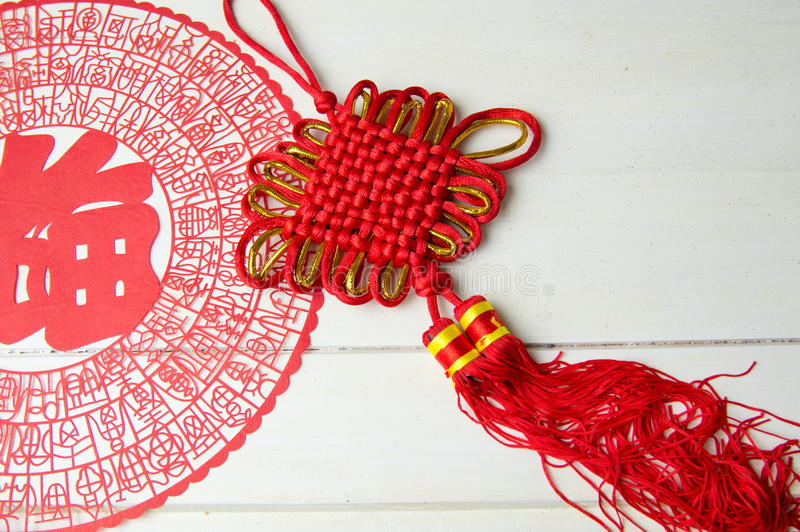 Chinese knot and paper cut. For good luck stock photos