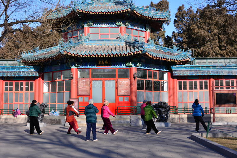 Chinese Kung Fu in Beijing Park. This is the Zhongshan Park in Beijing, several elderly people in Chinese practicing kung fu, they played Tai Chi, an ancient royalty free stock photo