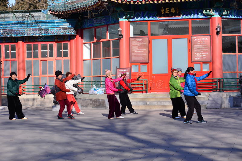 Chinese Kung Fu in Beijing Park. This is the Zhongshan Park in Beijing, several elderly people in Chinese practicing kung fu, they played Tai Chi, an ancient stock image
