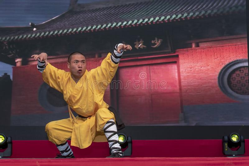 Chinese New Year 2019 - Shaolin Kung Fu. Chinese Kung Fu show and stage performance Shaolin Kung Fu from Henan Province China in the city hall premise royalty free stock image