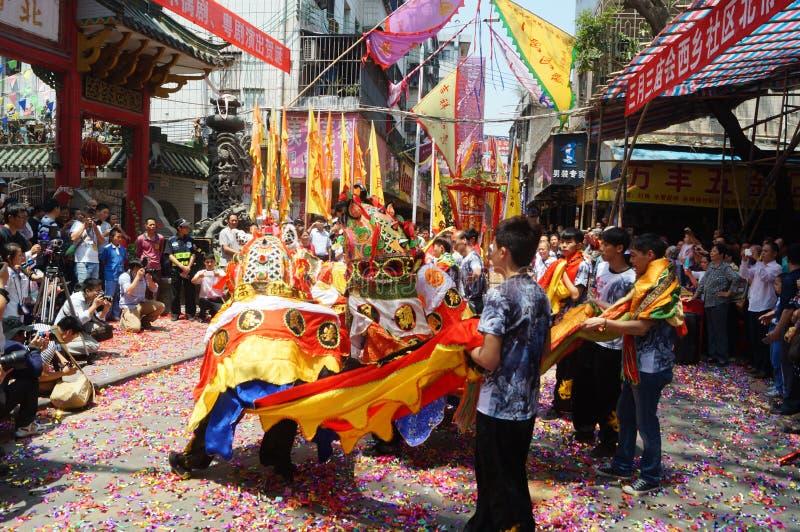 Chinese kylin dance folk art stock photography