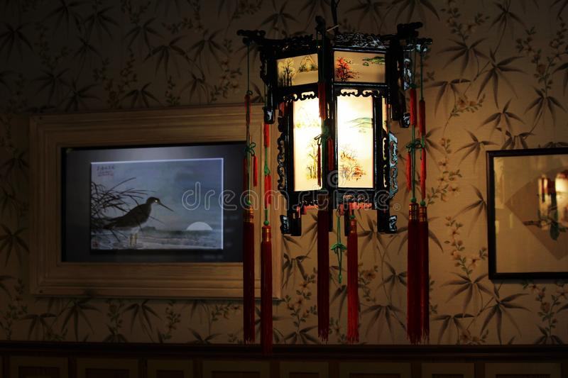 Chinese lamp in restaurant royalty free stock photos