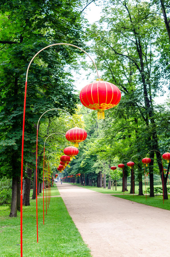 Chinese lamps in Lazienki Park. Warsaw royalty free stock photos