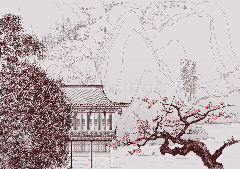 Chinese landscape vector illustration