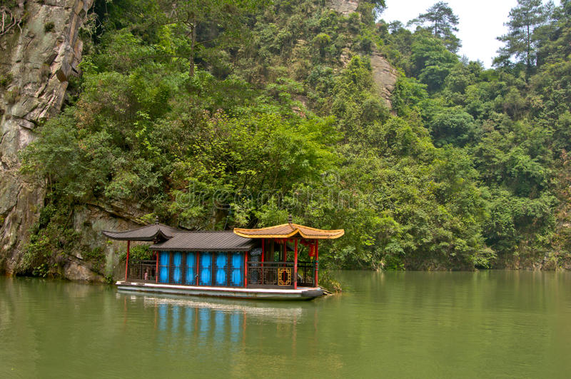 Chinese landscape of boat royalty free stock images