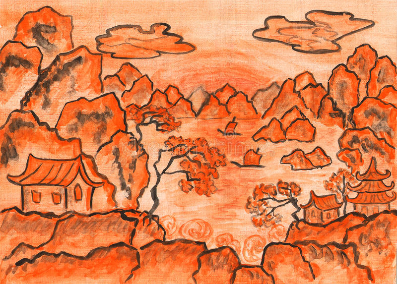 Chinese landscape in orange, painting vector illustration