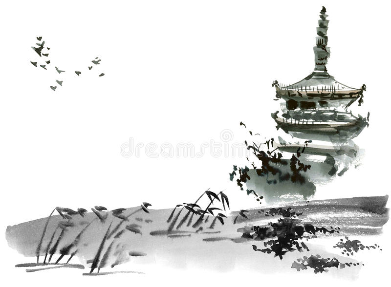 Chinese landscape with pagoda vector illustration
