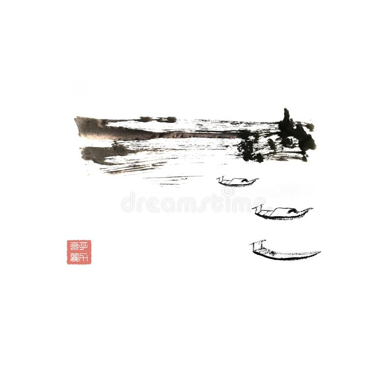 Chinese landscape painting freehand royalty free stock images