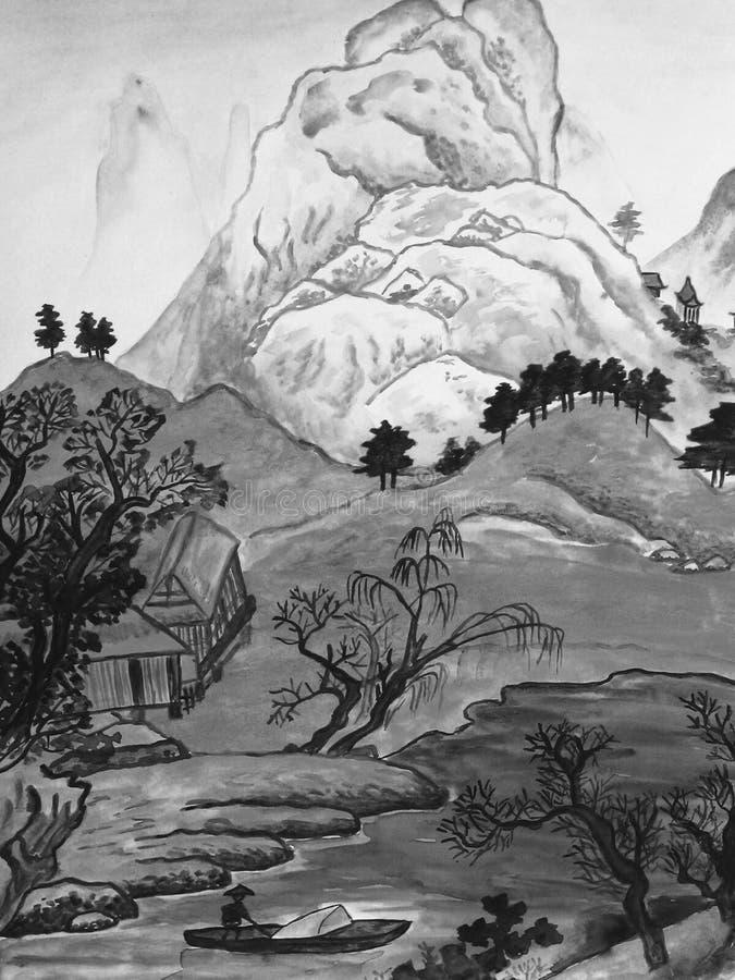 Chinese landscape, painting royalty free illustration