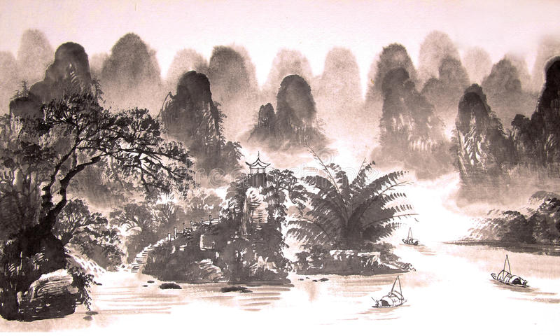 Chinese landscape watercolor painting. Hand drawn on paper royalty free illustration