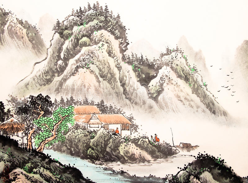 Chinese landscape watercolor painting vector illustration