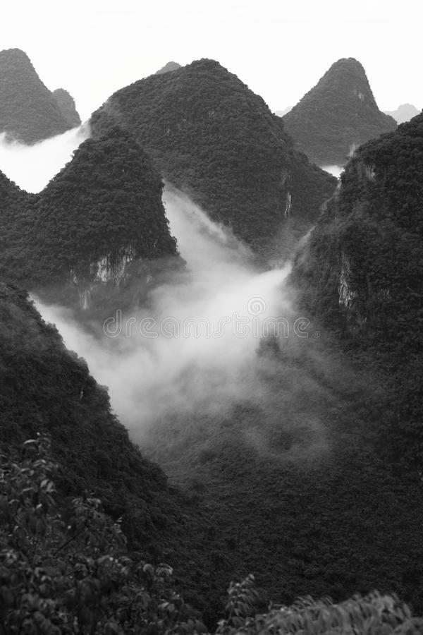 Chinese landscapes with fog,Guilin. The Wanxiangshan mount,Guilin China royalty free stock image