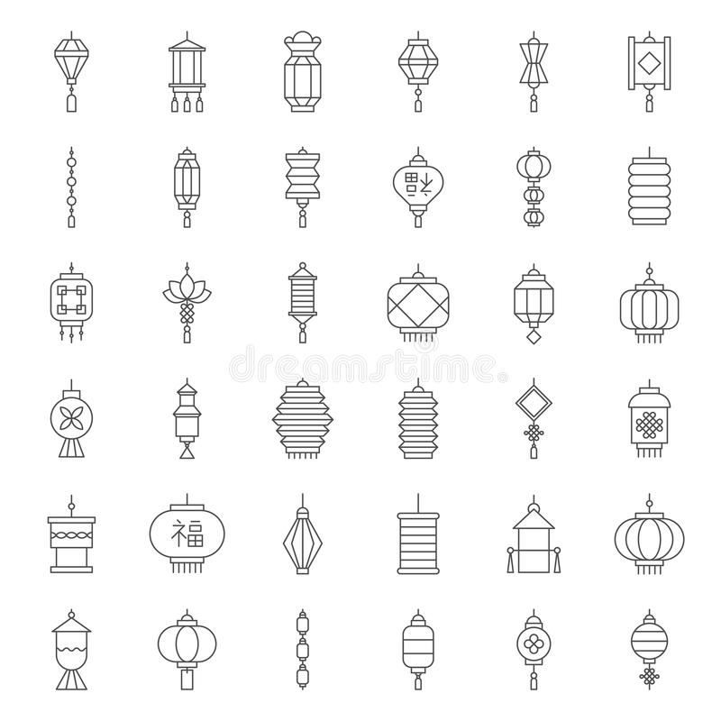 Chinese lantaarn in diverse stijl voor maan nieuw jaar stock illustratie