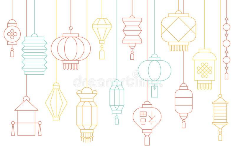 Chinese lantaarnbanner voor maan nieuw jaar en medio de herfstfestival stock illustratie