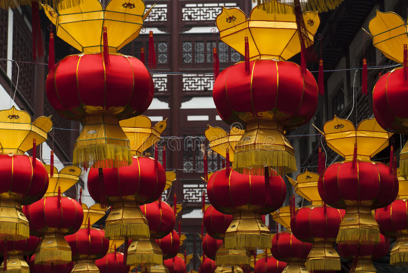 Chinese lantaarns bij het Chinese Nieuwjaar royalty-vrije stock fotografie